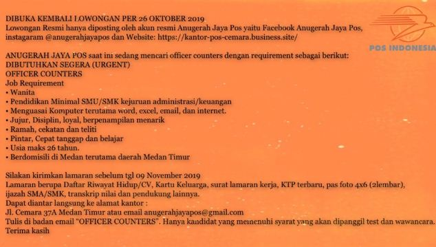 Lowongan Kerja Kantor Pos Indonesia Lulusan Sma 2019 Di Medan