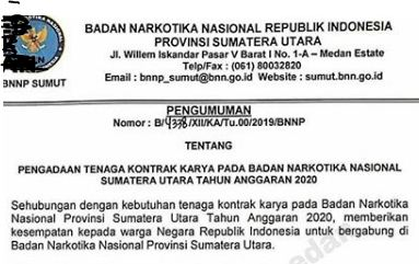 Lowongan Kerja BNNP Sumut / Badan Narkotika Nasional Republik Indonesia Provinsi Sumatera Utara 2019