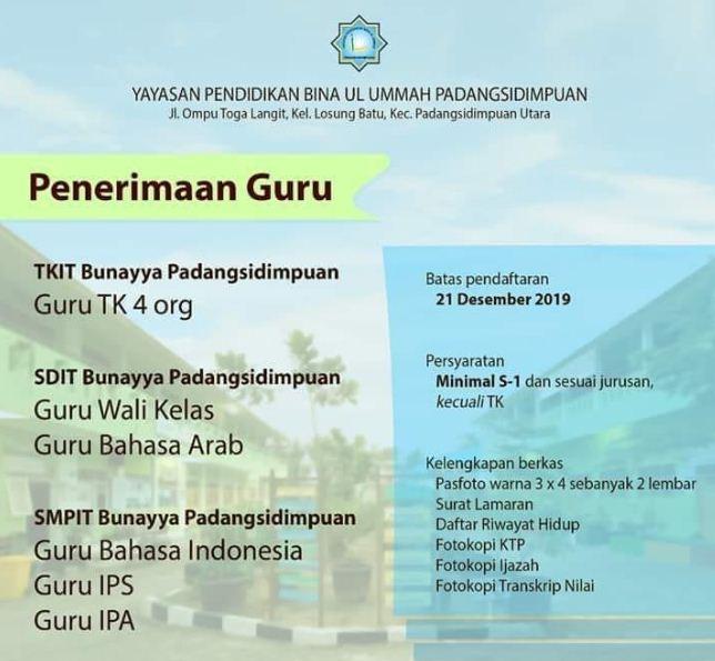Lowongan Kerja Guru Tk Sd Smp Di Yayasan Pendidikan Bina Ul Ummah Padangsidimpuan Desember 2019