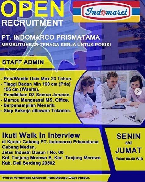 Lowongan Kerja D3 Indomaret Medan Desember 2019 Sebagai Staff Admin Loker Medan Desember 2019