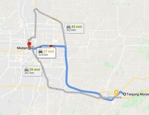 Jarak Antara Medan kota ke Tanjung Morawa
