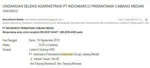 Surat balasan lamaran kerja dari PT Indomarco Prismatama Cabang Medan