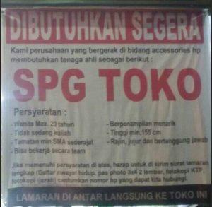 lowongan kerja Toko HP Sebagai SPG