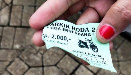tiket parkiran goa Ergendang