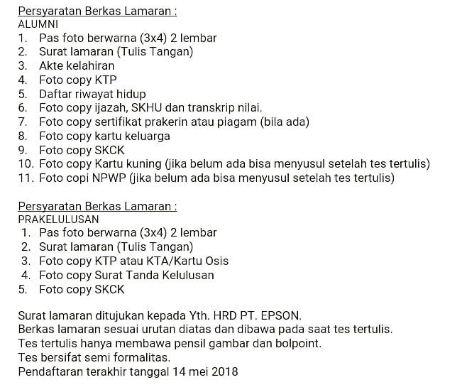 Persyaratan Masuk Pt Epson Indonesia Yang Baru Batam Dan Cikarang